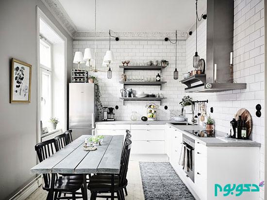 دکوراسیونی با رنگ های سفید و خاکستری در سبک اسکاندیناوی